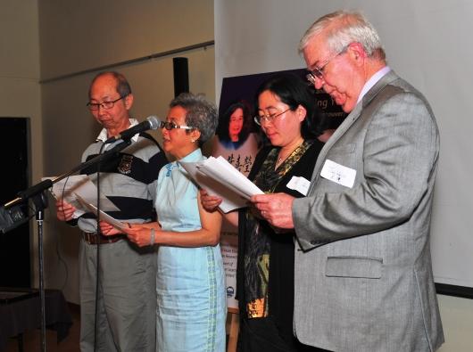 Recitation of Yeh's poems and lyrics (L to R: Jan Walls, Ally Wang, Jenny Tse, Tommy Tao)
