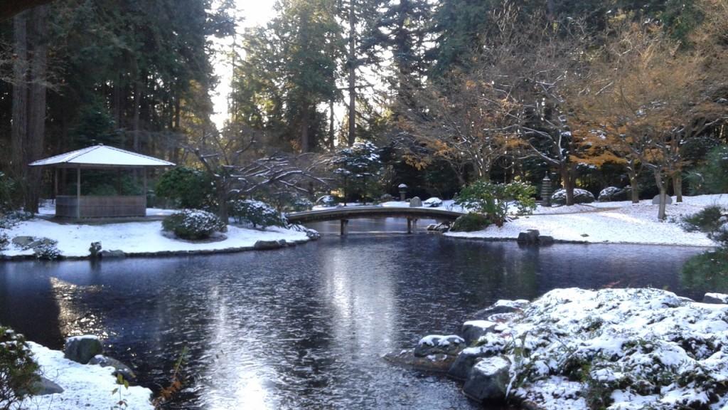 Nitobe Memorial Garden in snow